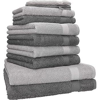 Betz 6er Handtuch Set PREMIUM 2 Duschtücher 4 Handtücher 100/% BW grau