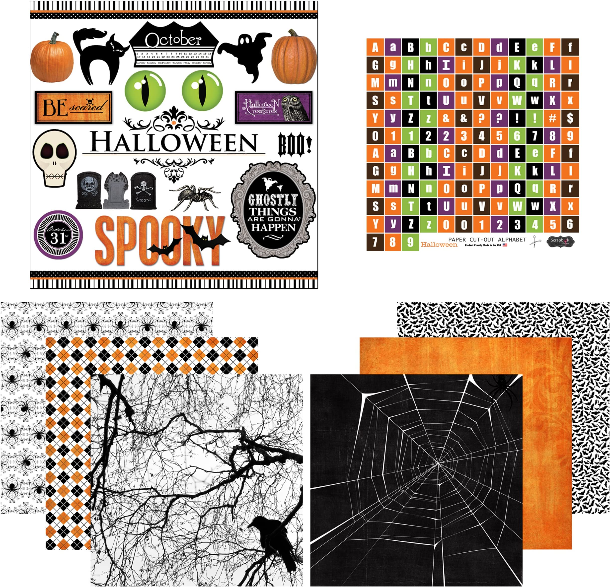 3 Sheets Included Spooky Craftober Planner Paper Sticker Sheet Set