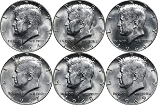 1964-1969 Kennedy Silver Half Dollar 50C Set, 6 Coins. BU Brilliant Uncirculated