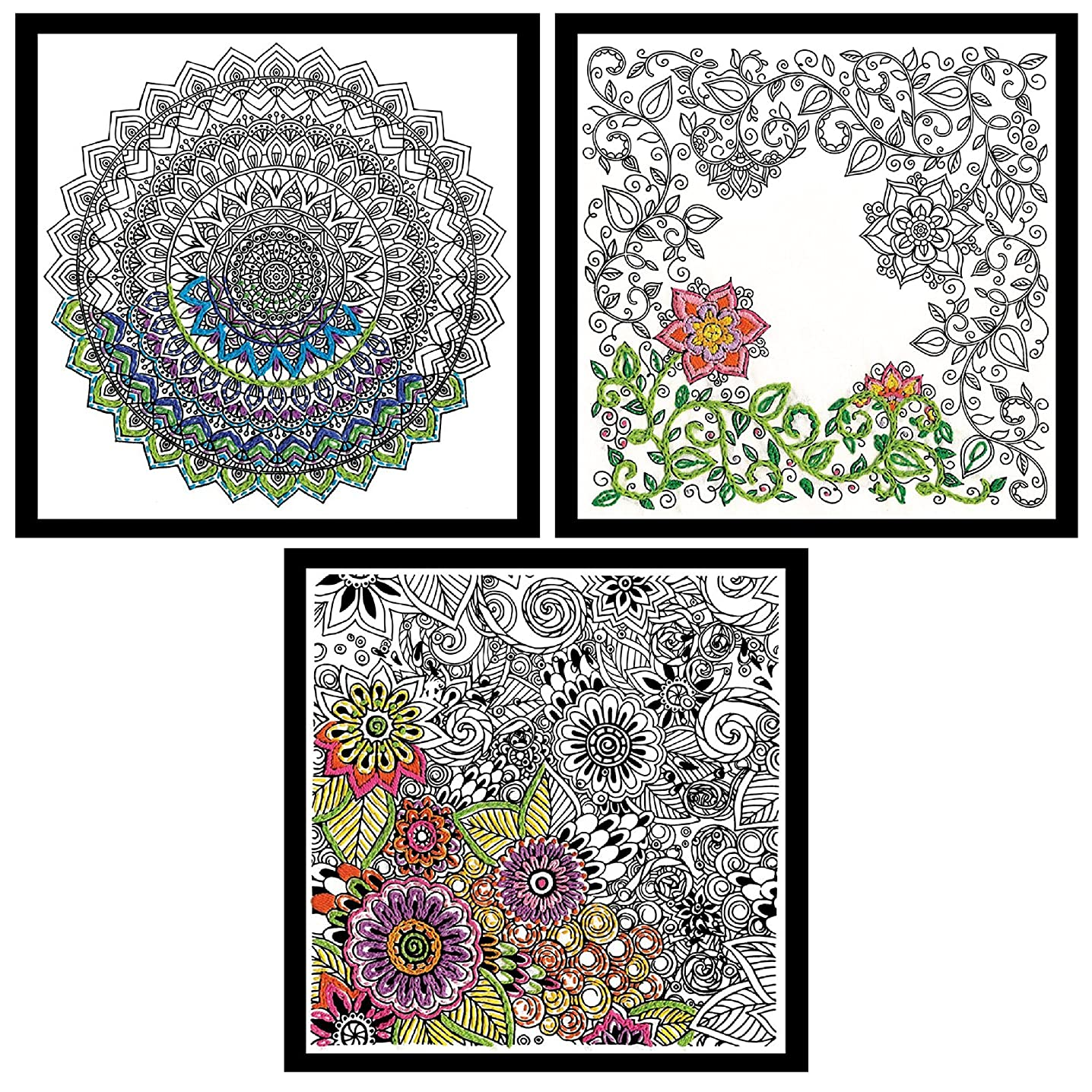 Design Works - Zenbroidery Stamped Embroidery 3 Designs: Floral, Mandala and Garden and 3 Gift Cards
