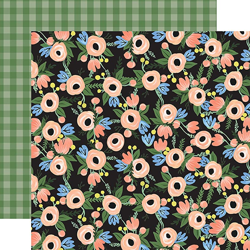 Echo Park Paper Blossom Cluster/Sage Check Flora No. 2 Double-Sided Cardstock 12