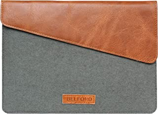 Slim Tan Leather and Felt Protective Sleeve/case for iPad Pro 12.9 inches with Apple Pencil Holder - Handcrafted Top Grain Leather Sleeve with in-case Charging Option