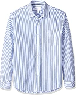 Amazon Essentials Men's Slim-Fit Long-Sleeve Stripe Casual Poplin Shirt