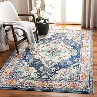 Safavieh Monaco Collection MNC243N Bohemian Chic Medallion Distressed Area Rug, 3' x 5', Navy/Light Blue
