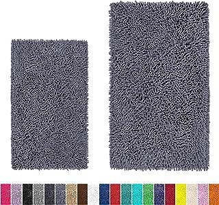 LuxUrux Bathroom Rug Set�Extra-Soft Plush Bath mat Shower Bathroom Rugs,1'' Chenille Microfiber Material, Super Absorbent (Rectangular Set, Dark Grey)