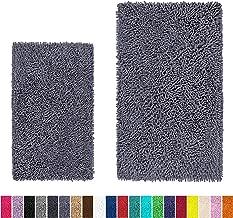 LuxUrux Bathroom Rug Set–Extra-Soft Plush Bath mats Shower Bathroom Rugs,1'' Chenille Microfiber Material, Super Absorbent. (Rectangular Set, Dark Gray)