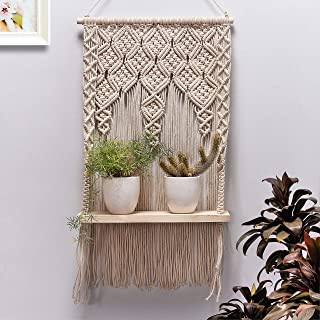 Decazone Macrame Wall Hanging Shelf, Boho Plant Hanger, Bohemian Pattern, Flower Pots Holder, Tapestry Art Decor Cotton De...