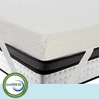 LuxyFluff 3-Inch Gel-Infused Memory Foam Mattress Topper with Added Ventilated Removable Washable Bamboo Cooling Cover and Corner Straps - King