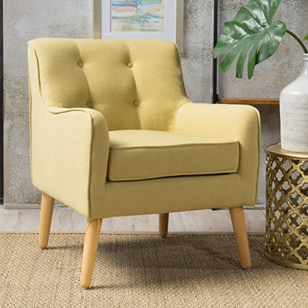 Christopher Knight Home 300568 Felicity Mid Century Button Tufted Fabric Arm Chair Wasabi