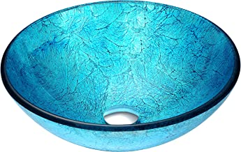 ANZZI Accent Modern Tempered Glass Vessel Bowl Sink in Blue Ice | Aqua Top Mount Bathroom sinks above Counter | Round Vanity countertop Sink Bowl with Pop Up Drain | LS-AZ047