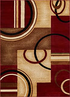 Well Woven Barclay Arcs & Shapes Red Modern Geometric Area Rug 6'7'' X 9'6''