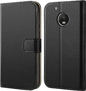 HOOMIL Case Compatible with Motorola Moto G5 Plus, Premium Leather Flip Wallet Phone Case for Motorola Moto G5 Plus and Moto G Plus (5th Generation) Cover, Black