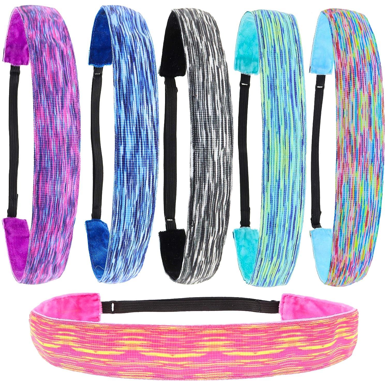 FROG SAC 6 PCS Space Tie Dye Headbands for Teen Girls, Adjustable No Slip Hairband Pack, Comfortable Tie-Dye Head Bands for Kids, Tiedye Hair Accessories Party Favors for Women, VSCO Girl Headband