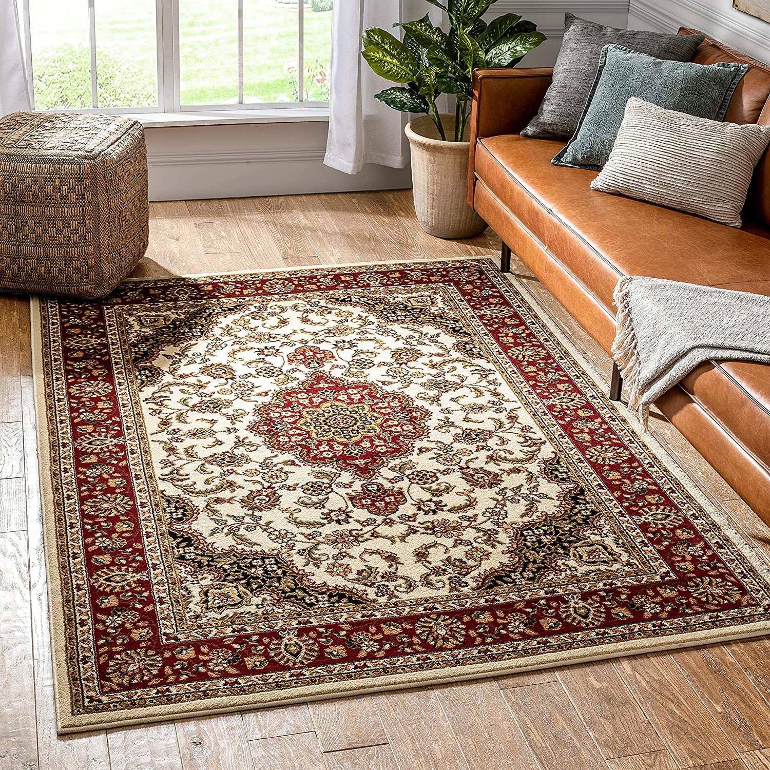 Noble Medallion Ivory Persian Floral Oriental Formal Traditional Area Rug 8x10 8x11 ( 7'10
