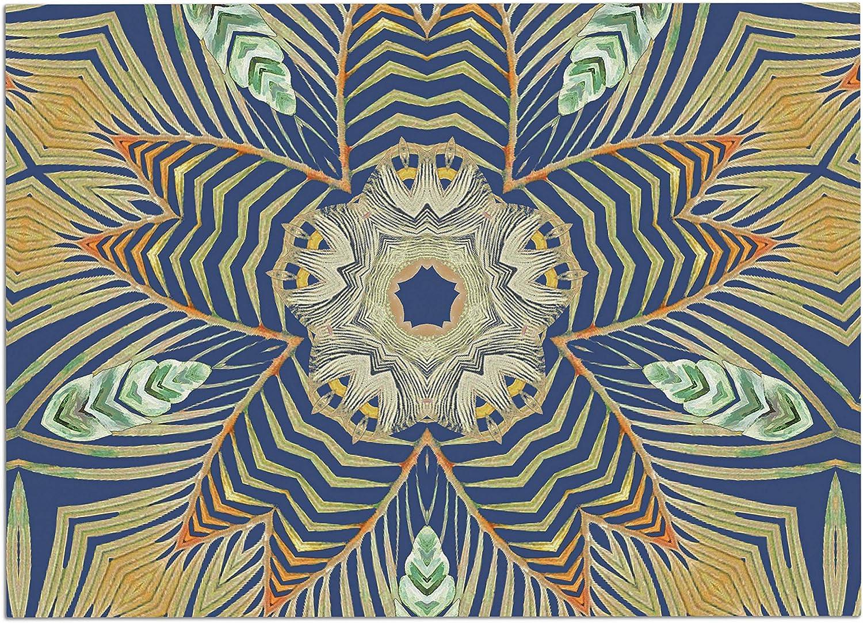 KESS InHouse AC1114ADM02 Alison Coxon Kintenge Deep bluee bluee orange Dog Place Mat, 24 x15