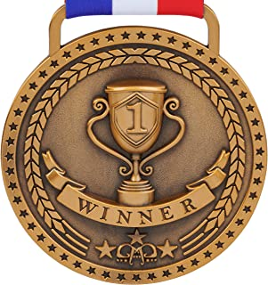 Gold Silver Bronze Medals for 1st 2nd 3rd Place Awards with Option of Bright or Antique Finish, Red White Blue Ribbon and ...