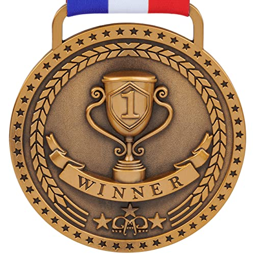 Gold Silver Bronze Medals for 1st 2nd 3rd Place Awards with Option of Bright or Antique Finish, Red White Blue Ribbon and Small Velvet Gift Bag is Included with Every Medal - Sold Separately