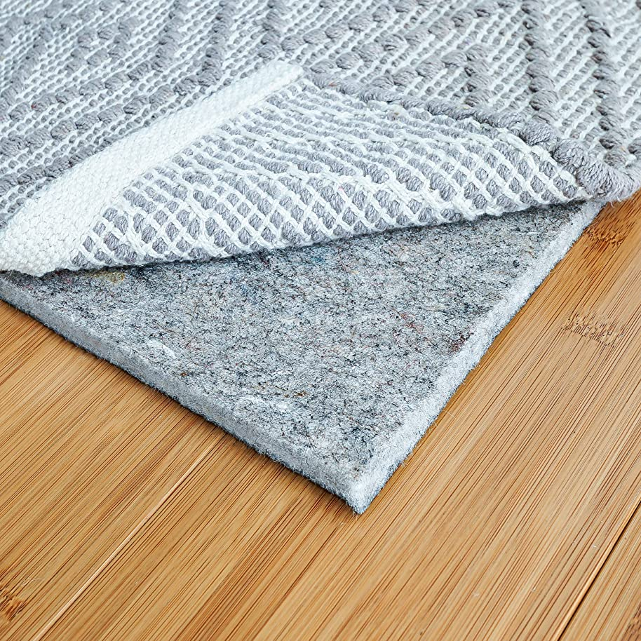 """RUGPADUSA, 8' Round, 1/4"""" Thick, Basics Felt + Rubber Rug Pad, Non-Slip Rug Pad, Adds Cushion and Floor Protection Under Rugs, Safe for all Floors and Finishes"""