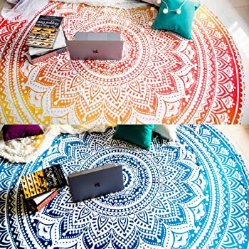 Set of 2 Round Beach Blanket or Boho Beach Towel, Hippie Mandala Tapestry or Bohemian Circle Tablecloth or Rug, Large Cotton Indian Yoga Mat for Meditation - 70 Inches, Blue and Yellow