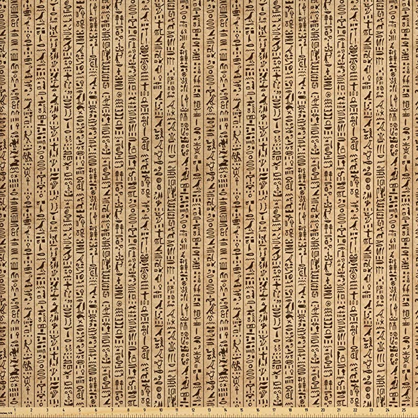 Ambesonne Egyptian Fabric by The Yard, Ancient Hieroglyphs Grunge Pattern on Stripes Archeology History Language, Decorative Fabric for Upholstery and Home Accents, 1 Yard, Sand Brown Black