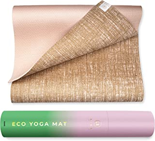 Ajna Eco Organic Yoga Mat - Natural Jute Yoga Mats - Large Non Slip - Reversible Jute PER - Carrying Strap - Extra Long Yoga Mat 72 Inch - 5mm - All Yoga - Vegan