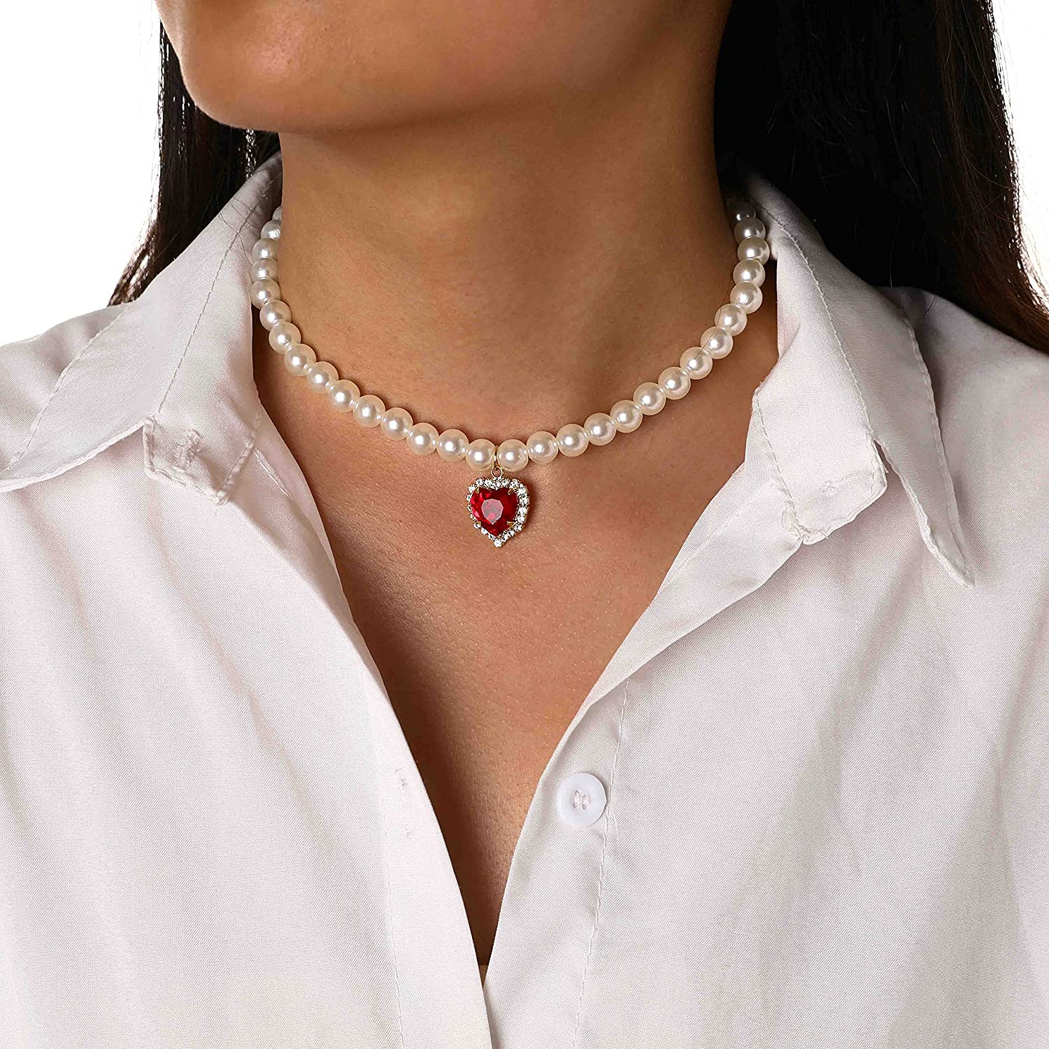 EVAZEN Pearl Choker Necklace Heart Pendant Necklaces Red Crystal Fashion Chain Jewelry for Women and Girls.