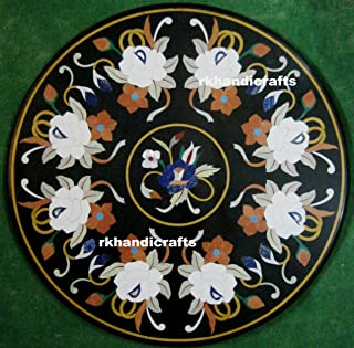 30 Inches Marble Coffee Table Top Semi Precious Stone with Inlay Work