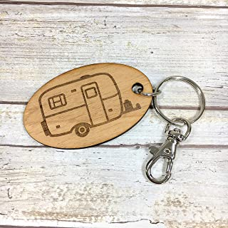 Scamp Camper Oval Key Fob. Available in two sizes and with personalized wording.