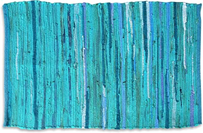 100% Cotton Rag Rug 3x5' Multicolor Chindi Rug - Hand Woven & Reversible for Living Room Kitchen Entryway Rug - Teal,Kitchen Rugs, Farmhouse Rugs, Rugs for Living & Bedroom,Woven Rugs