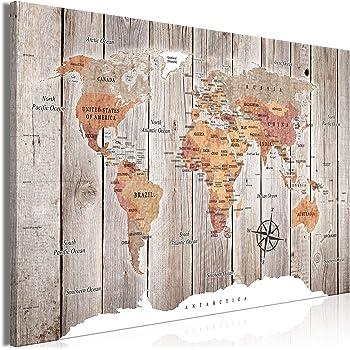 impresi/ón de 3 Piezas en Material Tejido no Tejido Cuadro 60x40 cm Imagen gr/áfica murando impresi/ón art/ística decoraci/ón de Pared Madera Land k-C-0035-b-f Continente