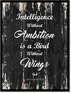 Intelligence Without Ambition Is A Bird Without Wings - Salvador Dali Inspirational Quote Saying Canvas Print Home Decor Wall Art Gift Ideas, Black Frame, Black, 7