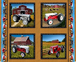 Ford Tractor Panel Fabric, Features 8N, 9N, Jubilee and 641 tractors, tan color
