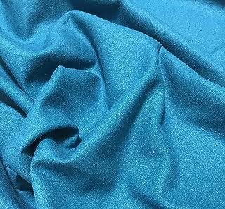 Teal Blue - Raw Silk Noil Fabric