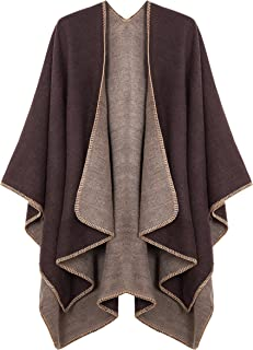 Urban CoCo Women's Color Block Shawl Wrap Open Front Poncho Cape