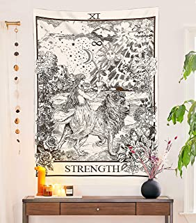 Tarot Flag Tapestry - Strength - Bohemian Cotton Printed Hand Made Wall Hanging Tapestries, Beige, Small