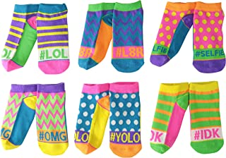 Girls' Hashtag Neon Low Cut Socks 6 Pair Pack