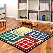 Littlelooms Handmade 5 x 5 Feet Ludo Anti Skit Rugs & Carpets Play Mat for Kids, Infant 0-12 Years