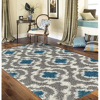 "Cozy Moroccan Trellis Gray/Turquoise 5'3"" x 7'3"" Indoor Shag Area Rug"