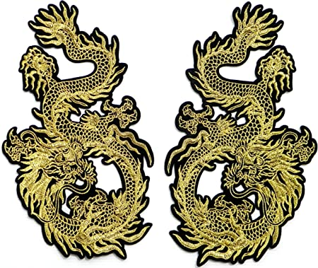 Dragon Patch Chinese Iron On Embroidered Applique 3 x 7