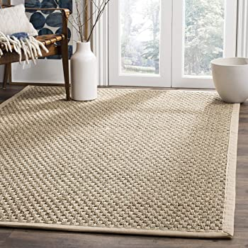 Safavieh Natural Fiber Collection NF114A Basketweave Natural and Beige Summer Seagrass Area Rug (10' x 14')