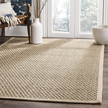 Safavieh Natural Fiber Collection NF114A Basketweave Natural and Beige Summer Seagrass Area Rug (5' x 8')