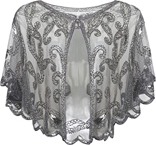 1920s Shawl Wraps Sequin Beaded Evening Cape Bridal Shawl Bolero Flapper Cover Up