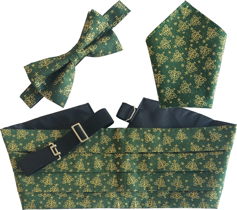 Christmas Cummerbund Sets: Includes Bow Tie & Hanky
