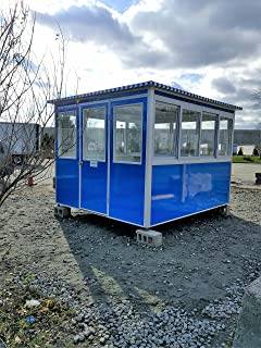 Prefabricated 8' x 8' Security Guard Shack/Ticket Booth/Parking Attendant Kiosk - Economy Model with Swinging Door