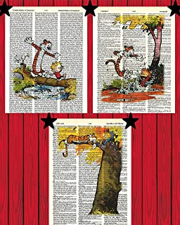 Calvin and Hobbes Classic Cartoon Prints Set of (3) Crossing Bridge Poster Jumping in Puddle Poster Sleeping in Tree Poste...