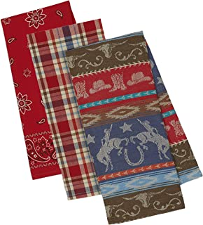 3 Western Themed Decorative Cotton Kitchen Towels Set | 1 Retro Vintage Style Horse Print Towel, 1 Paisley and 1 Plaid Towel for Dish and Hand Drying