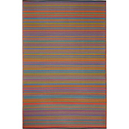 Fab Habitat Reversible Rugs | Indoor or Outdoor Use | Stain Resistant, Easy to Clean Weather Resistant Floor Mats | Cancun - Multicolor, 6' x 9'
