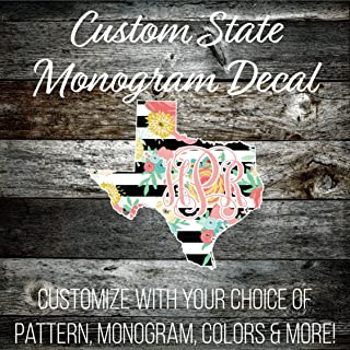 IAWOAVinyl Custom Texas Monogrammed Decal - 6 inch Wide (LP256CD6TX) Preppy Patterned Vinyl - Outdoor Rated Cute Custom Decal - Top Quality