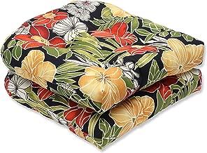 Pillow Perfect Outdoor Clemens Wicker Seat Cushion, Noir, Set of 2