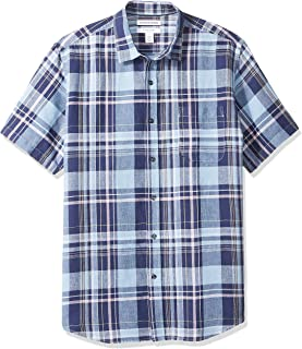 Amazon Essentials Men's Regular-Fit Short-Sleeve Linen Cotton Shirt